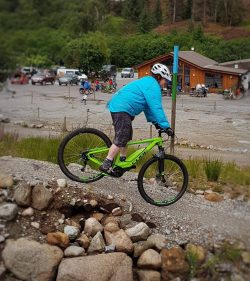 Mandy Watson on her electric bike at Nevis Range